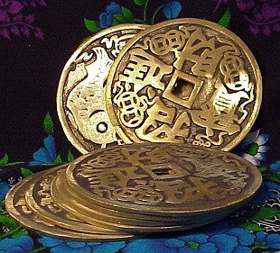 Large Bronze Feng Shui Coins 5 inches