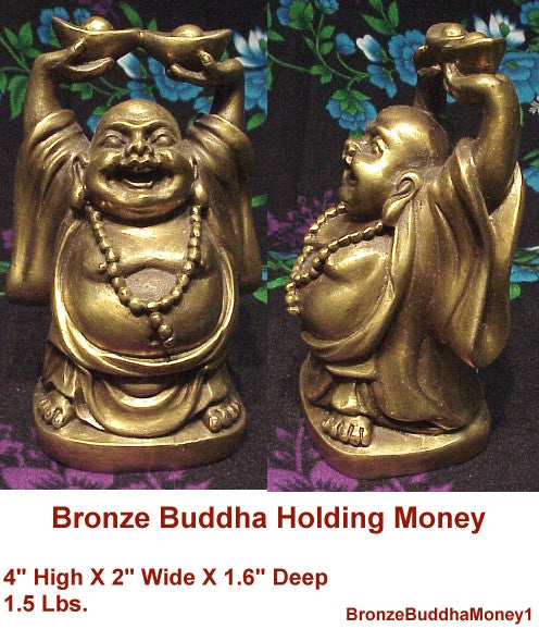Happy Bronze Buddha Standing on Bag of Money with Coins - 2 sizes