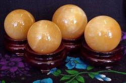 Yellow Fluorite Gemstone Globe with Wood Stand / Boule de Fluorite Jaune sur pied