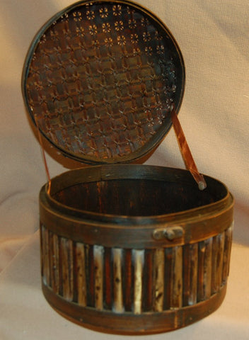 Wood Mesh Round Jewelry Case