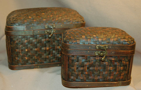 Woven Wood Oval Jewelry Box Bronze Latch