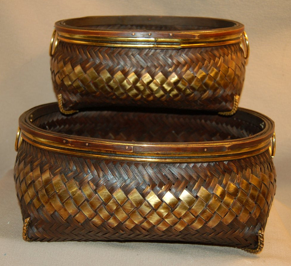 Woven Wood Pair of Baskets
