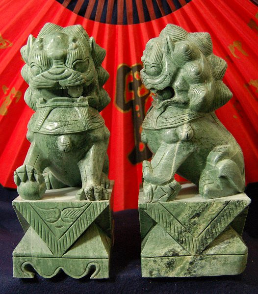 8 inch Pair Jade Temple Lions Starting at $129.95