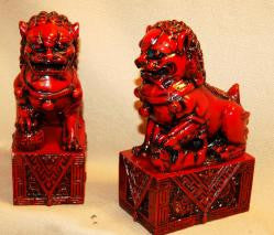 Red Resin Pair of Temple Lions