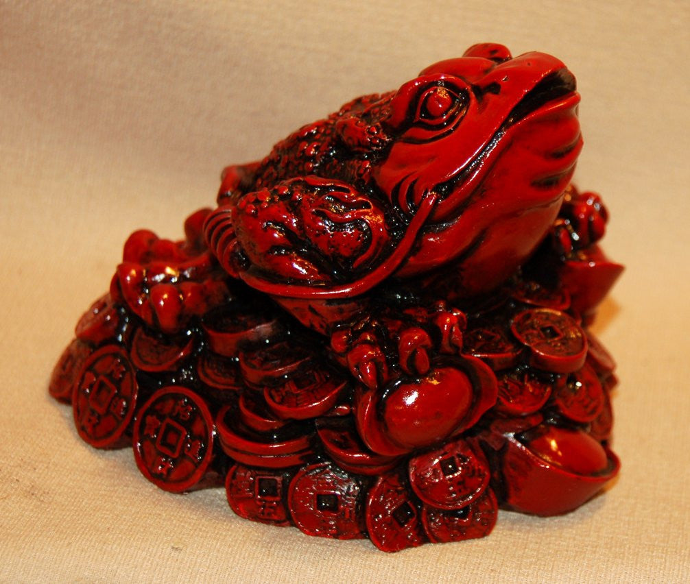Resin Red 3 Legged Frog w/ Coins