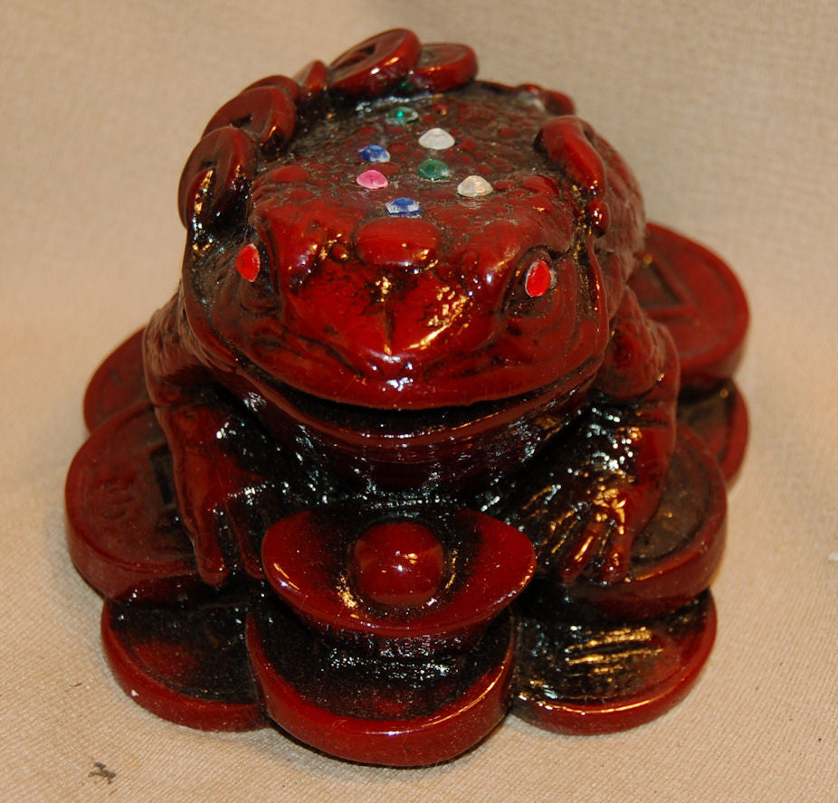Resin Red Frog w/ Coin & Colored Stone