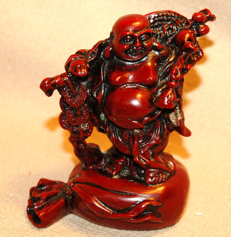 Resin Red Buddha w/ Coins