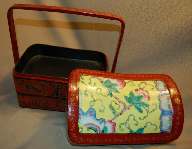 Chinese Lunchbox in Lacquerware with Hand Painted Porcelain Lid