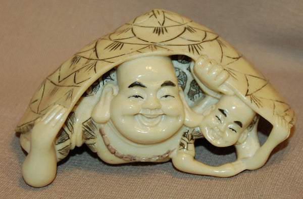 Resin Buddha w/Child under Turtle Shell