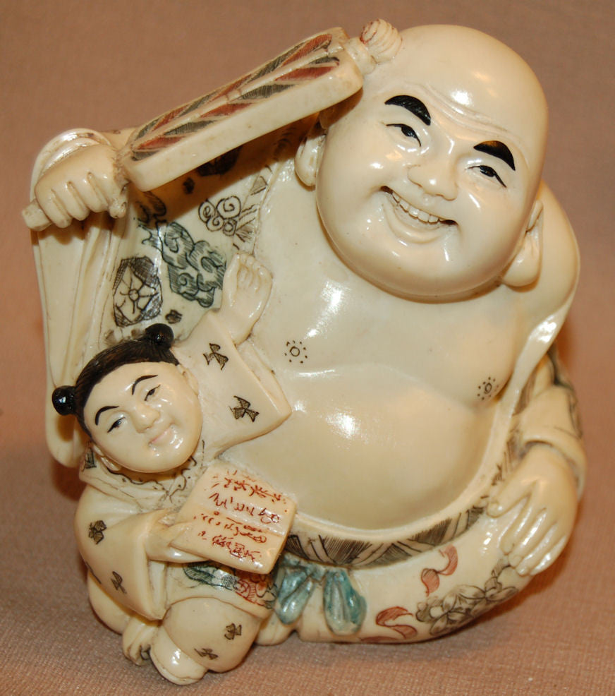 Resin Buddha w/Girl Sitting