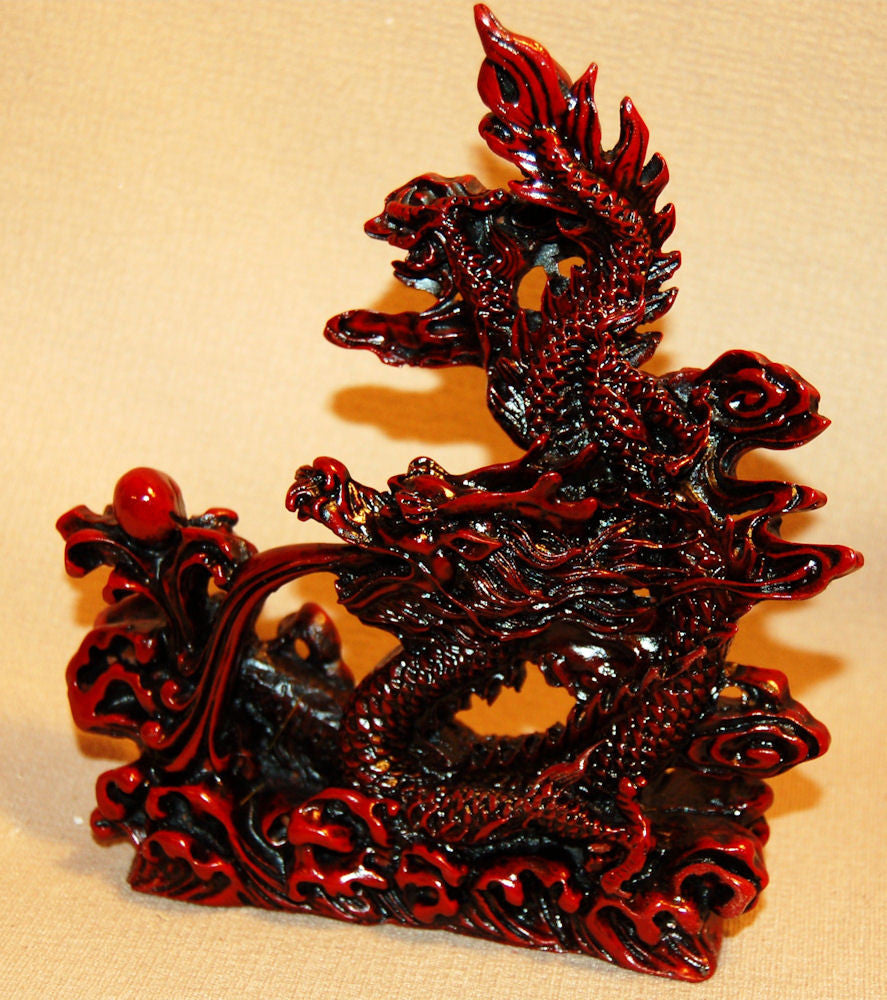 Red Resin Dragon w/Fire & Pearl