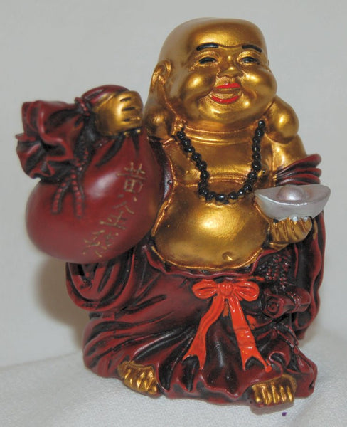 Resin Red & Gold Buddha w/ Bags & Ingot