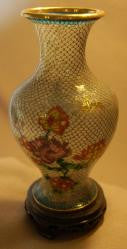 Cloisonne Vase w/wood stand