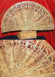 Hand Carved Fan of Ox Bone -  2 Sizes Available!