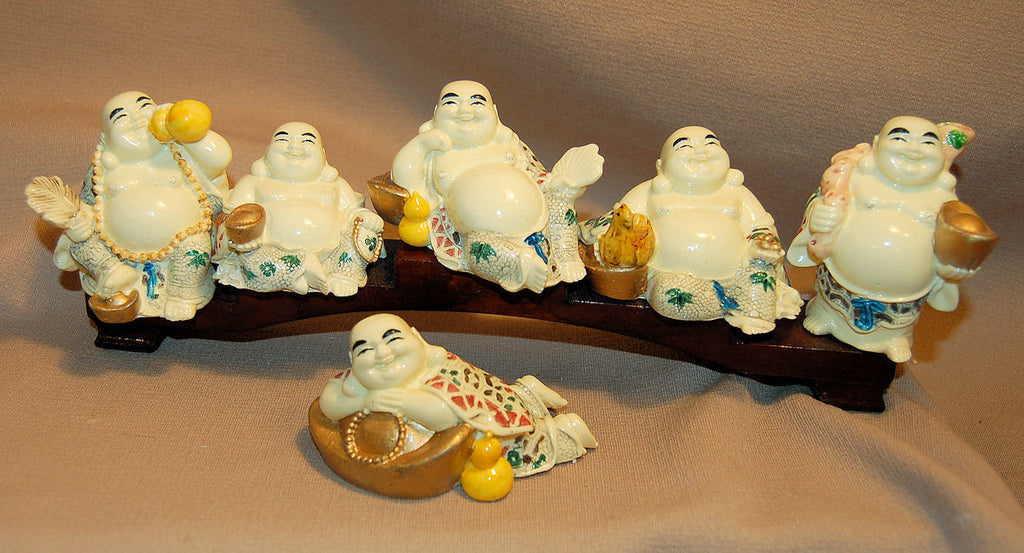 Resin Buddha w/Ingot, Fan Chicken (Set of 6)