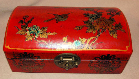 Wood / Leather Jewelry Box  (Birds)