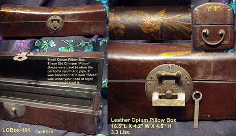 Medium Opium Lock Box Leather stitched