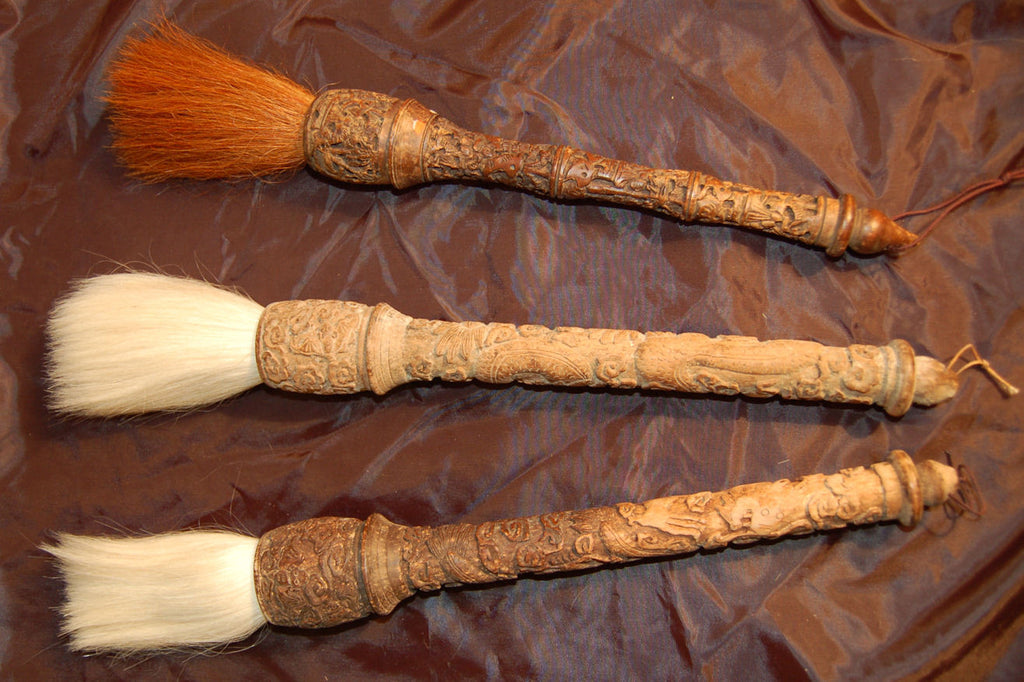 Carved Wood Calligraphy Brush with Horse Hair Bristles
