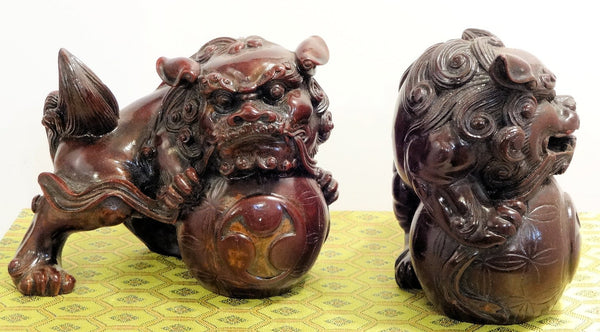 Pair Red Resin Dragon Ball Lions