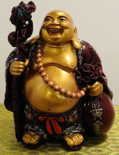 Red/Gold Resin Standing Buddha with Staff