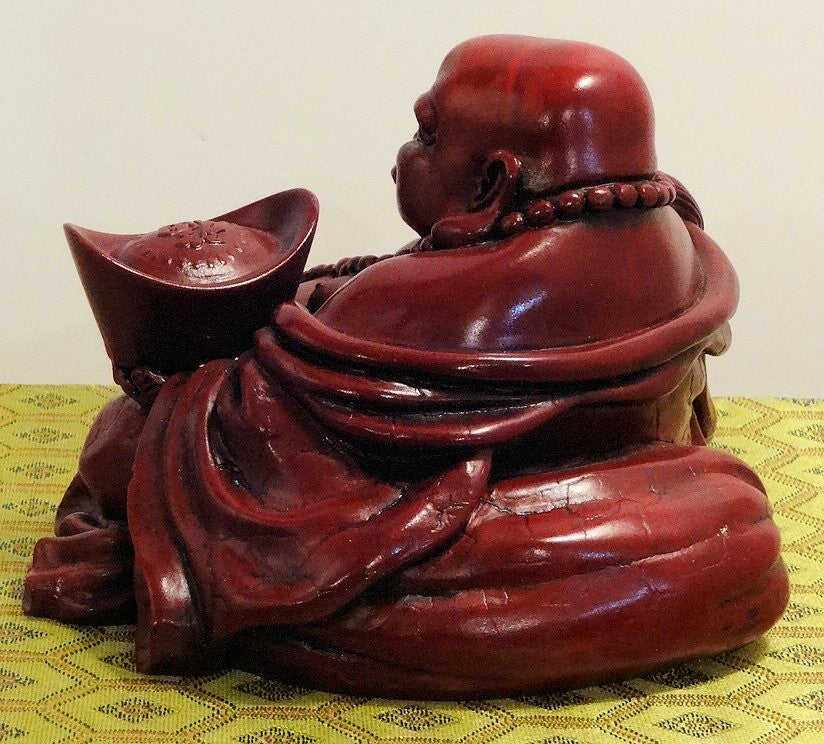 Red Resin Sitting Buddha with Money Ingot