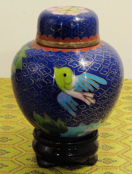 Cloisonne Small Blue Vase with Bird and Wood Stand