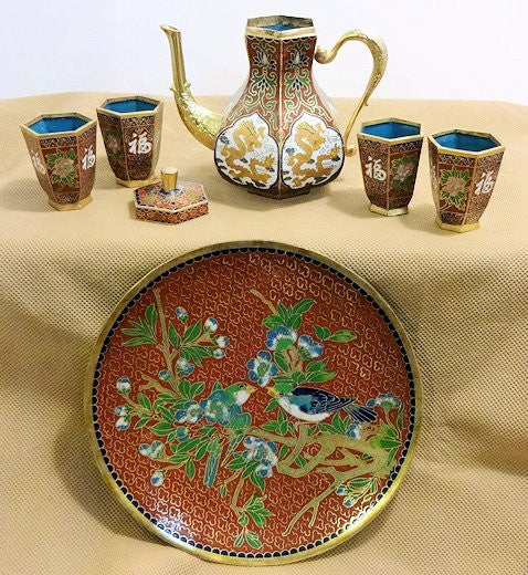 Cloisonne Tea Set Different Styles with Gold Trim