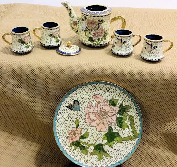 Cloisonne White Tea Set with Flowers