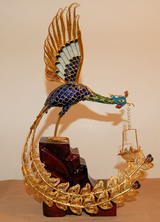 Cloisonne Peacock holding Basket on Wood Stand