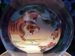 Crystal Globes with Fierce Tigers Painted Inside