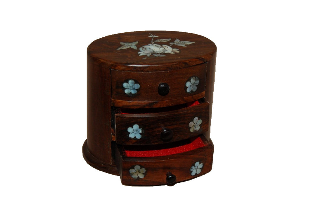 Small Wood Jewelry Box with 3 Drawers