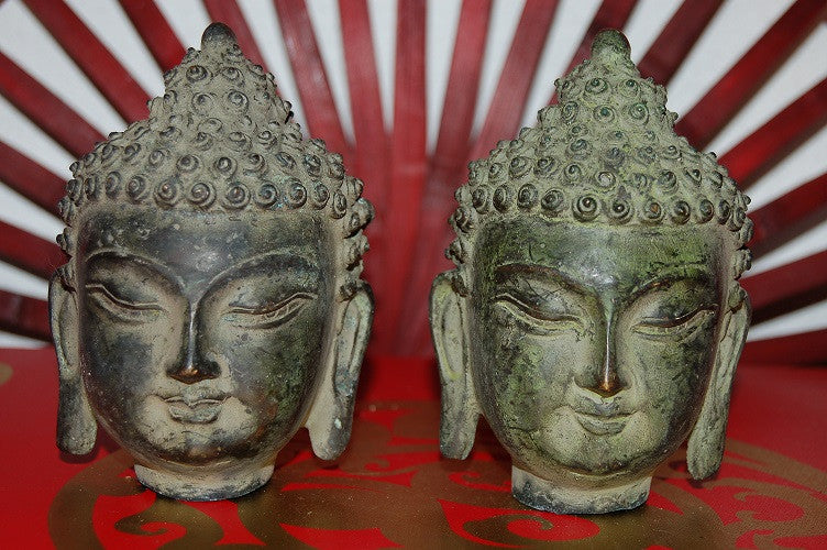 Old Bronze Temple Buddha Head - 2 sizes available