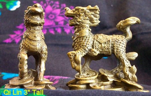 "Bronze Pair Qi Lin (Kei Loon) Running 3"" Tall"