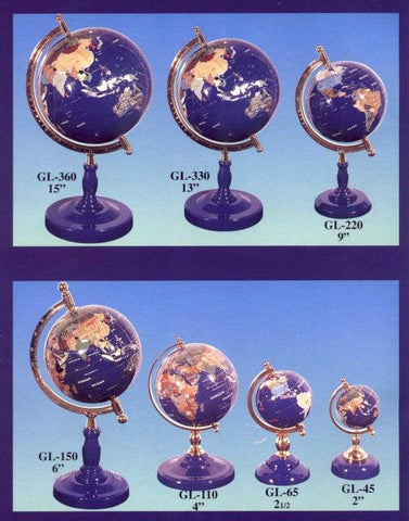 220 mm World Gemstone Globe