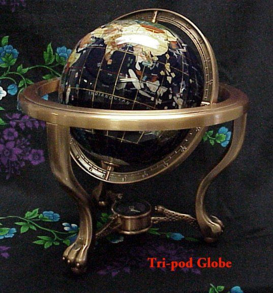 220 mm Tri-pod Style World Gemstone Globe