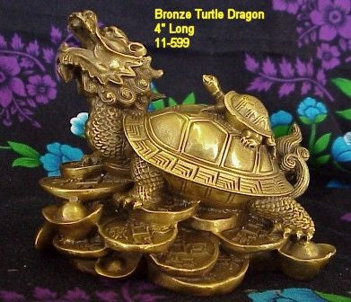 Bronze Turtle-Dragon on Coins - Feng Shui Item!