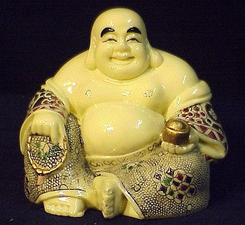 Happy Sitting Buddha Holding Gold Ingot