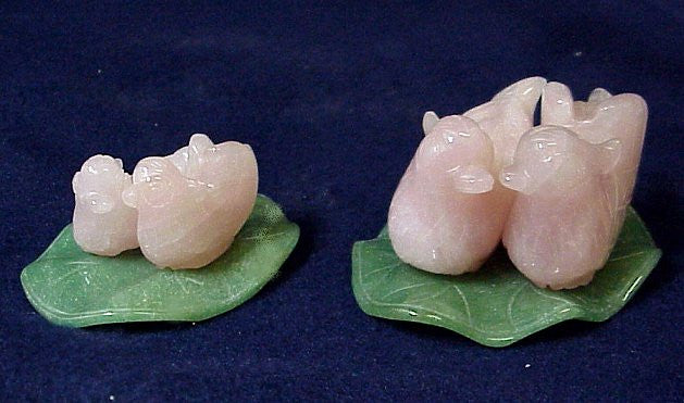 Beautiful Rose Quartz Pair of Love Birds - Two Sizes