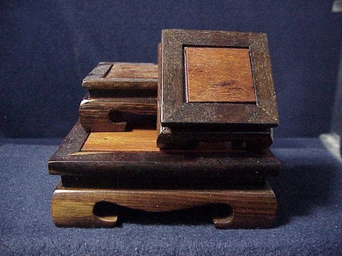 Set of 3 Exotic Wood Display Stands