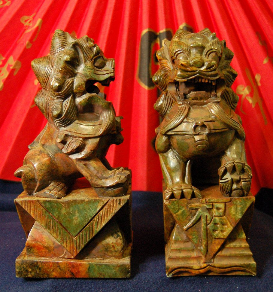 Brown Jade Temple Lions - Several Sizes Available