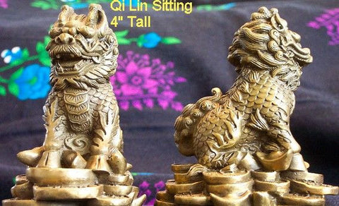"Bronze Pair Kei Loon or Qi Lin Sitting Guardian 4"" Tall"