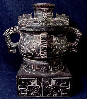 Large Dragon Urn with Square Base