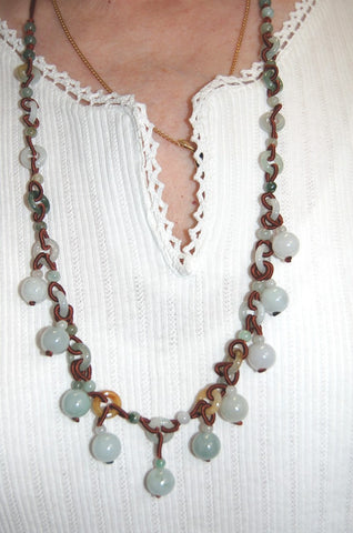 Exquisite Blue-Green Jade Many Stones Necklace