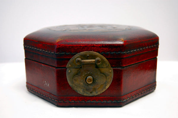 Large 8 Sided Wood and Leather Jewelry Box