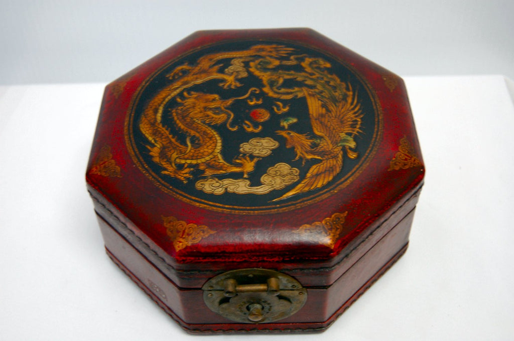 Large 8 Sided Wood and Leather Jewelry Box - Jade Market ...