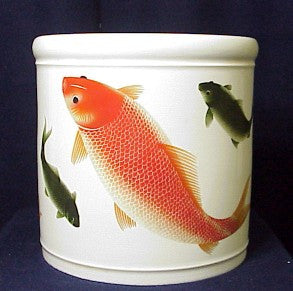 Beautiful Large Porcelain Brush Vase with Fishes - One Only!