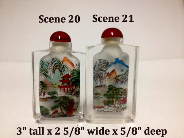 Inside Painted Crystal Snuff Bottles - Many Themes