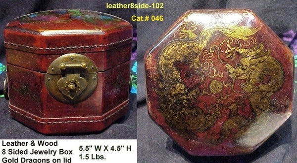 Leather  8-Sided Opium Pillow Box