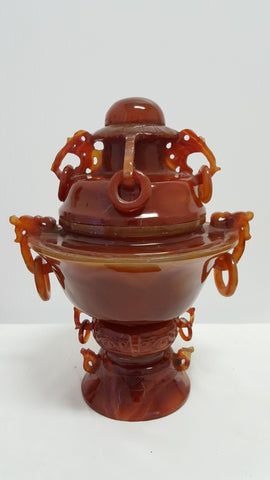 Beautiful Mongolian Red Agate Urn Hand Carved and 1 Only!
