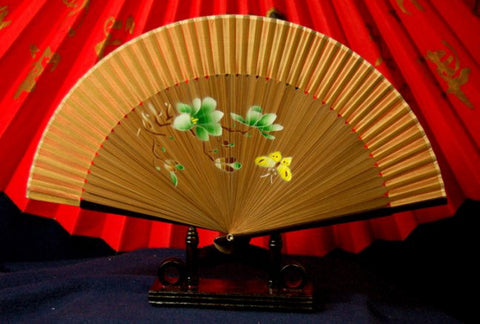 Beautiful Bamboo Hand Fan Earth & Gold Tones